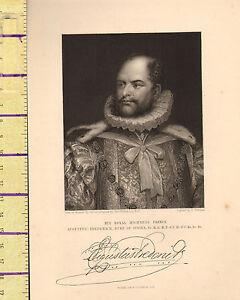 C1860 Vittoriano Stampa Augustus Frederick Duca Di Sussex Con Facsimile Firma