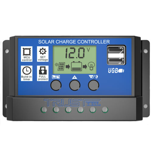 20 A PWM Solar Charge Controller 12V//24V Regulator LCD Display Panel USB Chargeur