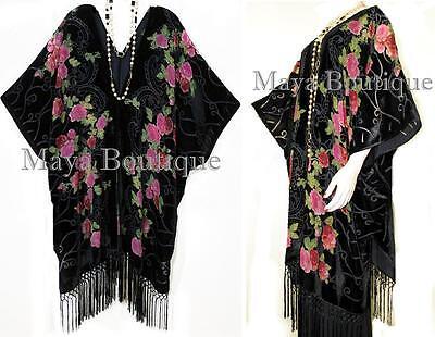 Tea Roses Caftan Kimono Burnout Velvet Black Red & Pink Usa Made Maya Matazaro