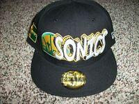 Seattle Supersonics Era Mens Hardwood Classics Black Hat Cap 7 1/4 3/4