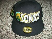 Seattle Supersonics Era Mens Hardwood Classics Black Hat Cap 7 1/4 3/4