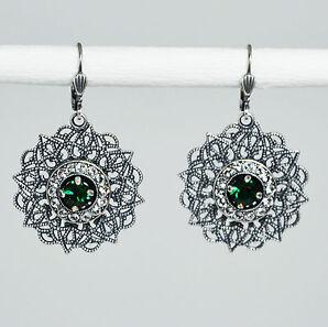 Ohrringe Ohrhänger lang Silber Swarovski Kristall Pavé Rund Vintage Emerald grün