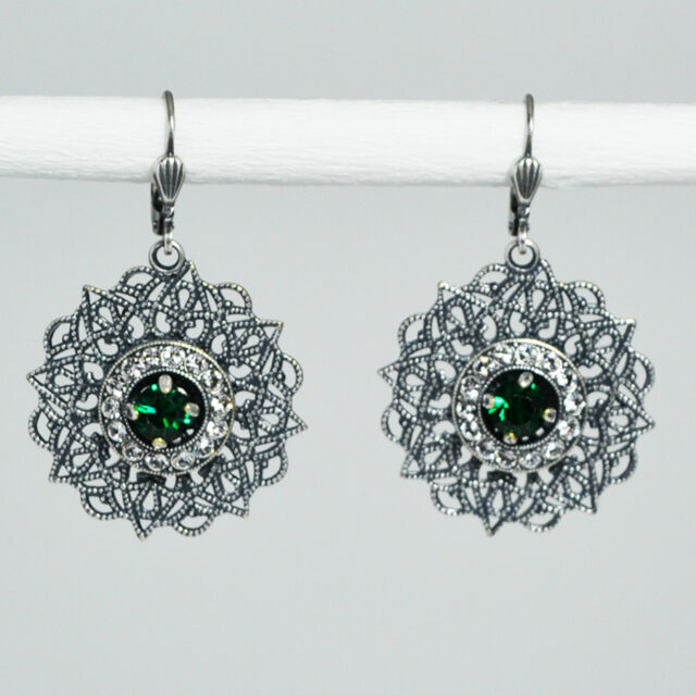 Grevenkämper Ohrringe Swarovski Kristall Silber Rund Pavé Vintage grün Emerald
