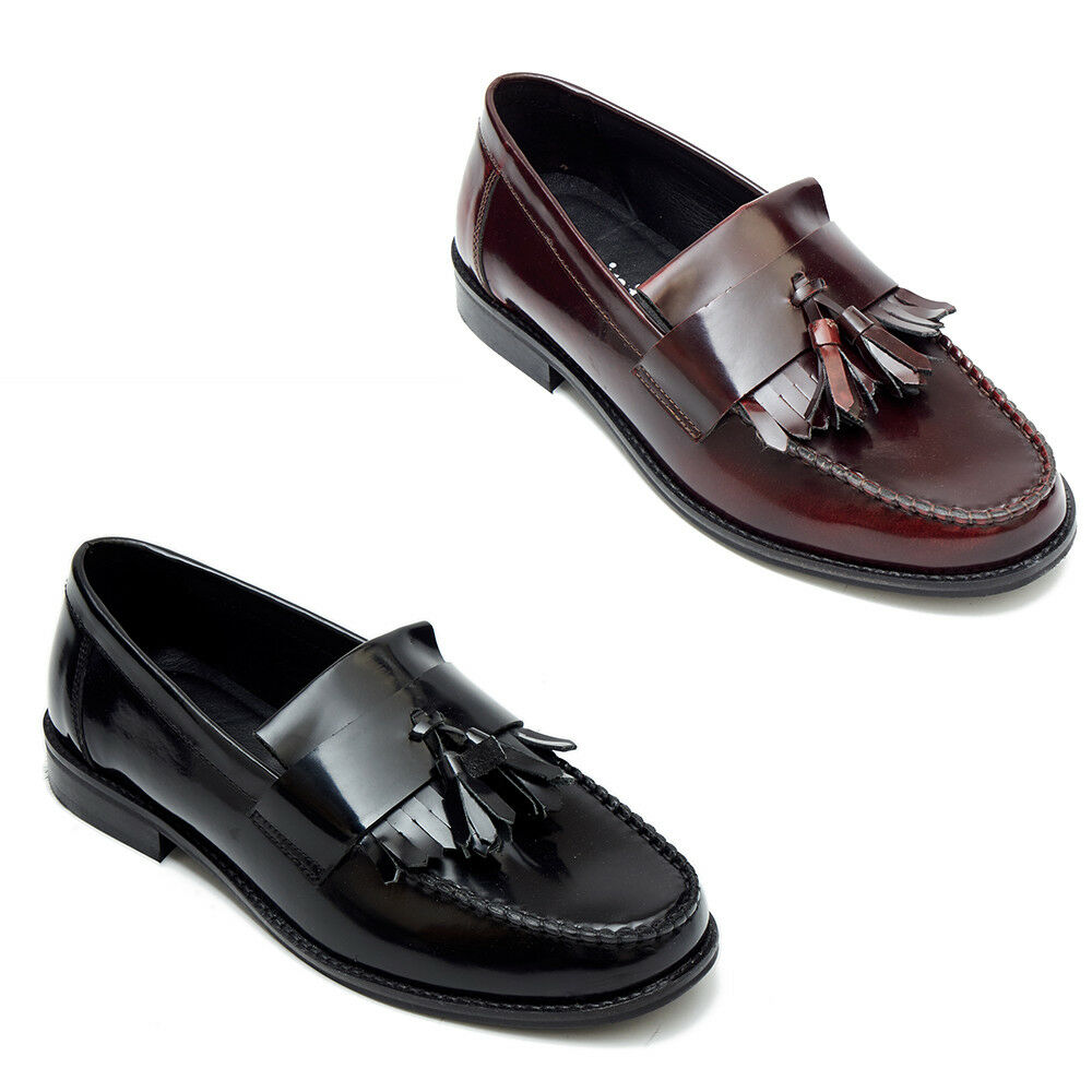 Mens Classic Moccasin Real Calf Leather Tussle Moccasin Classic Shoes Casual Formal Wear fab15e
