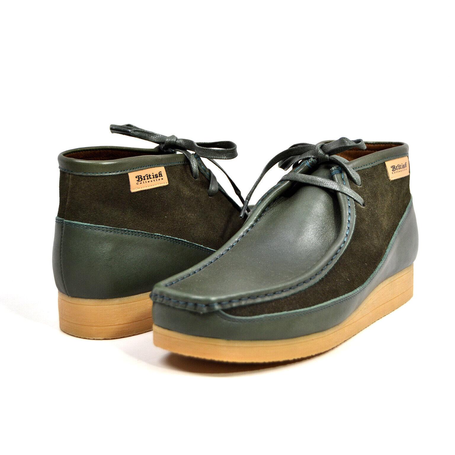 British Walker collection  NEW CASTLE  hommes vert Cuir et Daim  999-8-7
