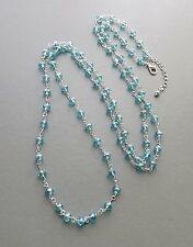 Long aqua turquoise blue crystal glass bead necklace .. silver tone glam jewelry