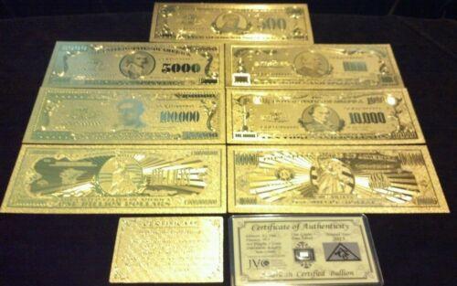 OFFER/<FULL SET/>10Pc.LOT~COIN+GOLD$1BILLION-$500 Rep.*Banknotes W//COA FLAKE ttt