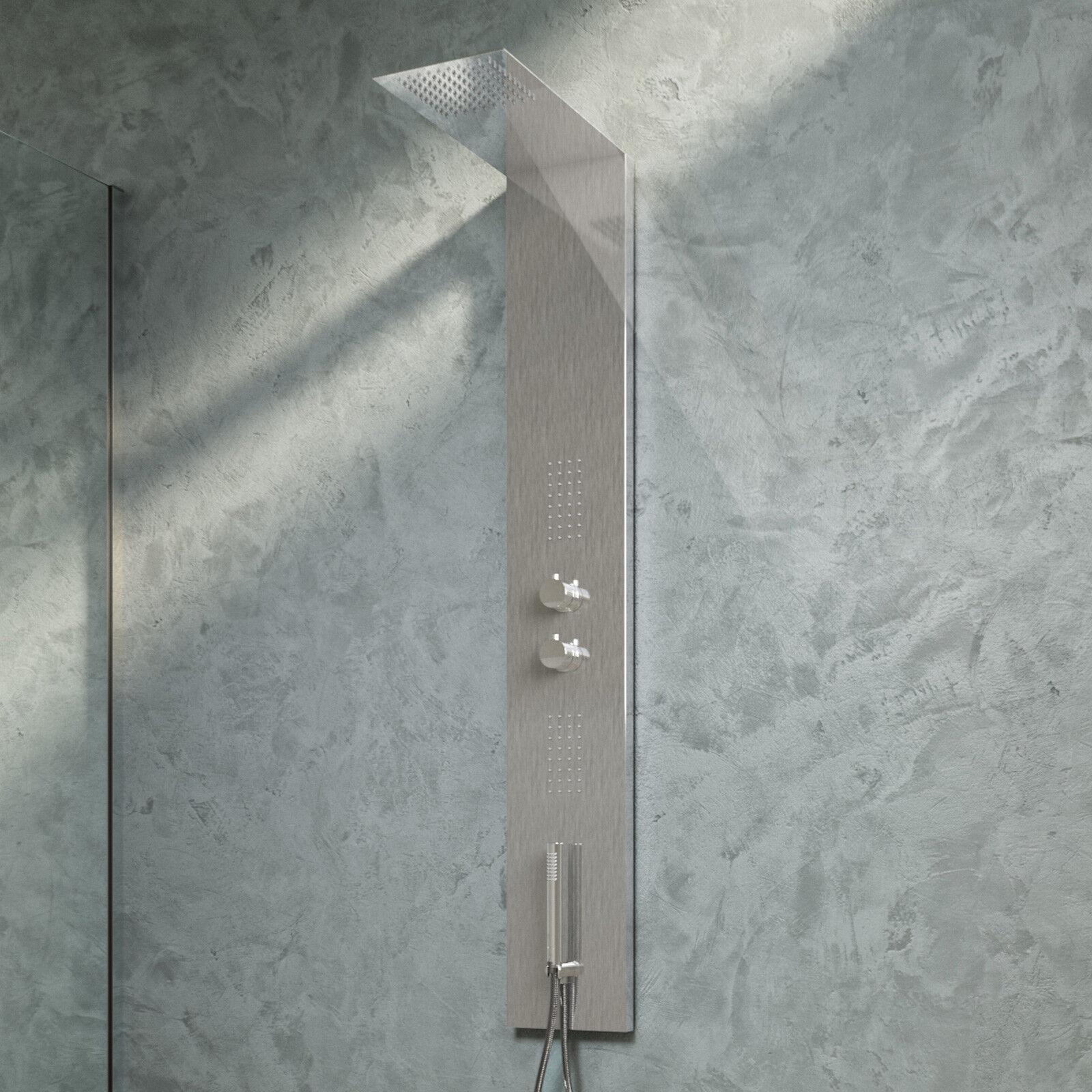 Pannello doccia in acciaio colonna ultraslim soffione flat e getti idrossoerapia