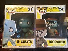 Funko Pop! Movies Watchmen Rorschach #24 + Dr. Manhattan #23 Glow Vaulted RARE