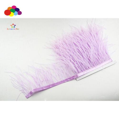 Nuevo 1//5//10 Medidor Luz Púrpura plumas de avestruz 8-15cm//3-6 pulgadas flecos Cinta De Ajuste