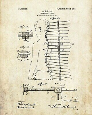 Chiropractic Patent Poster Print Adjusting Table Books Office Wall Artwork Decor