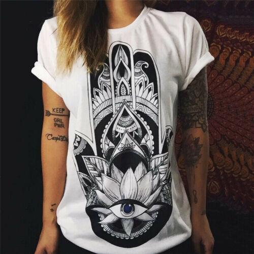 Womens Print Ladies Short Sleeve T Shirt Tee Tops Summer Casual Loose Blouse Top
