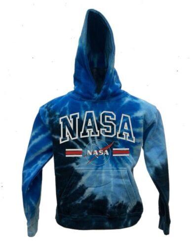 Kids Tie dye NASA Hoodie Pullover Sweatshirt w//USA Flag Col Blue Jerry