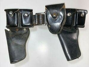 Vtg-70s-Leather-Police-Belt-Holster-Buckle-Black-Handcuff-Case-Revolver-Ammo-USA