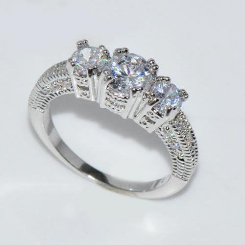 Luxury White Sapphire Love Wedding Ring Set 925 Silver Engagement Jewelry Sz5-12