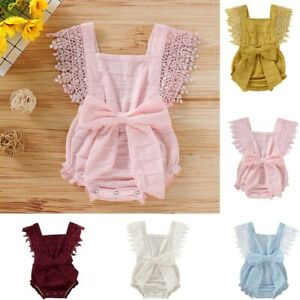 Newborn Infant Baby Girls Boys Solid Lace Bow Romper Bodysuit Clothes Outfits US