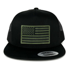a22c2a668cc737 Oversize XXL Olive USA Flag Patch 5 Panel Flatbill Snapback Mesh Cap ...