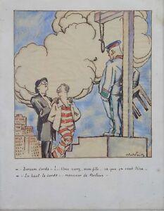 Expressif Abel Jules Faivre (1867-1945) Le Pendu Caricature Aquarelle Assiette Au Beurre