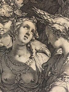 Superbe-gravure-ancienne-manieriste-Jan-Saenredam-Bloemaert-Venus-Bacchus-1600