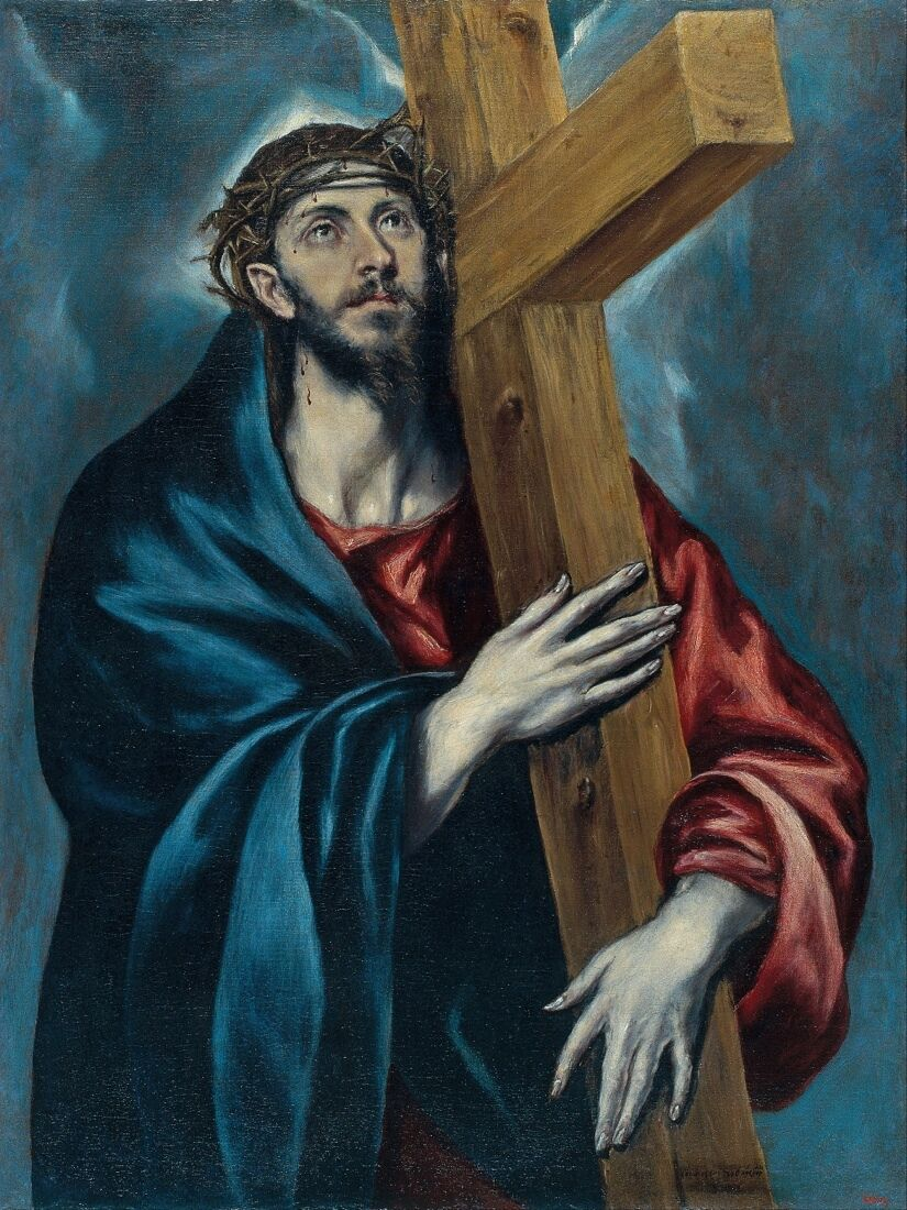 6541.Christ holding cross.wearing blu & rosso cloths.POSTER.House art wall decor
