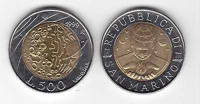 "San Marino 500 lire 1999 km#394 /""Exploration/"" BiMetallic UNC"