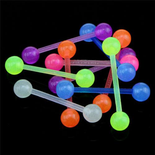 20PCS//Set Luminous Ball Flexible Barbell Stud Tongue Ring Bars Body Piercing Vy