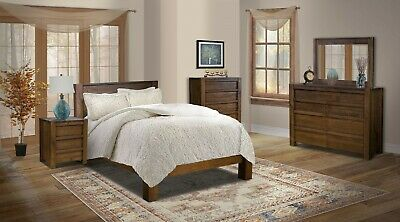Amish Modern 5 Pc Bedroom Set Panel Bed Solid Wood Queen King | EBay