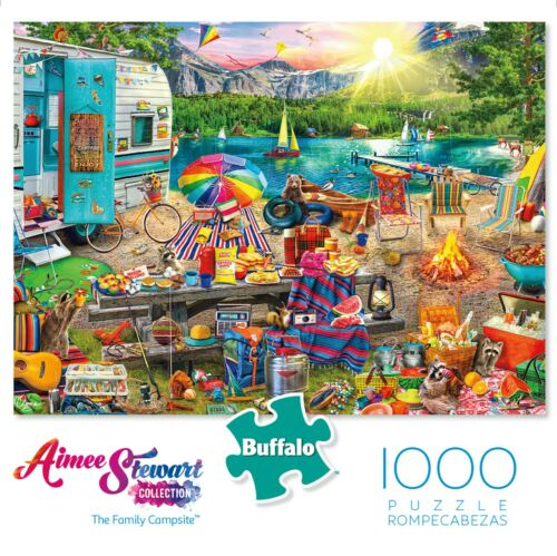 FREE SHIP Buffalo Games Aimee Stewart The Family Campsite 1000 Piece Puzzle NEW