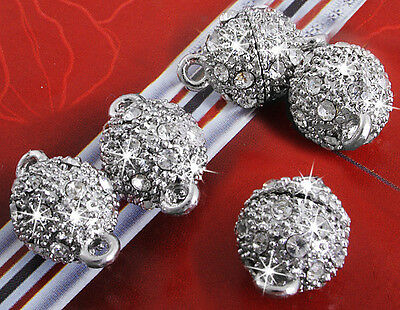 5 Pcs Silver Tone Magnetic Clasps Lock Clasp Charms Bracelet Necklace 10mm