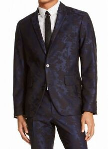 INC Mens Blazer Blue Black Medium M Slim Fit Floral Jacquard Two Button $129 083