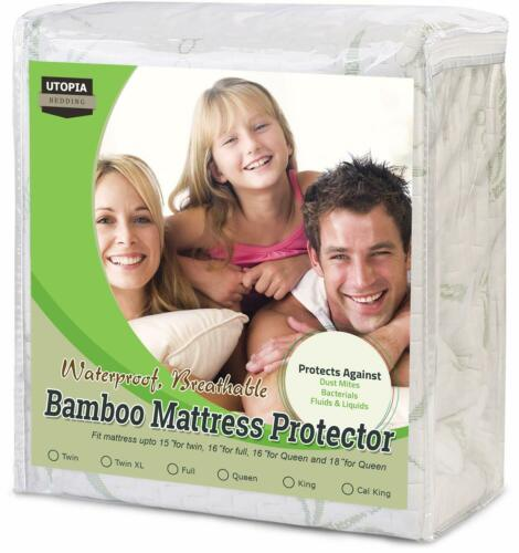 Bamboo Mattress Protector Waterproof Memory Foam Hypoallergenic Fitted CoverPad