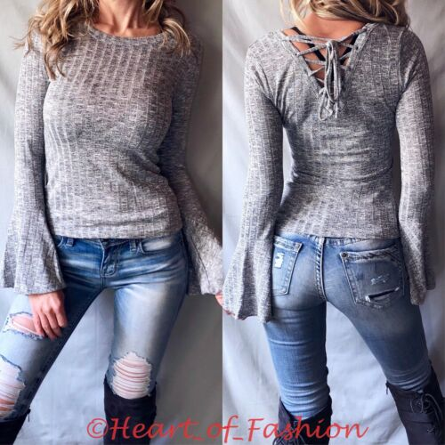 Gray Lace Up Back Slub Ribbed Soft Long Bell Sleeve Women/'s Junior Fall Top