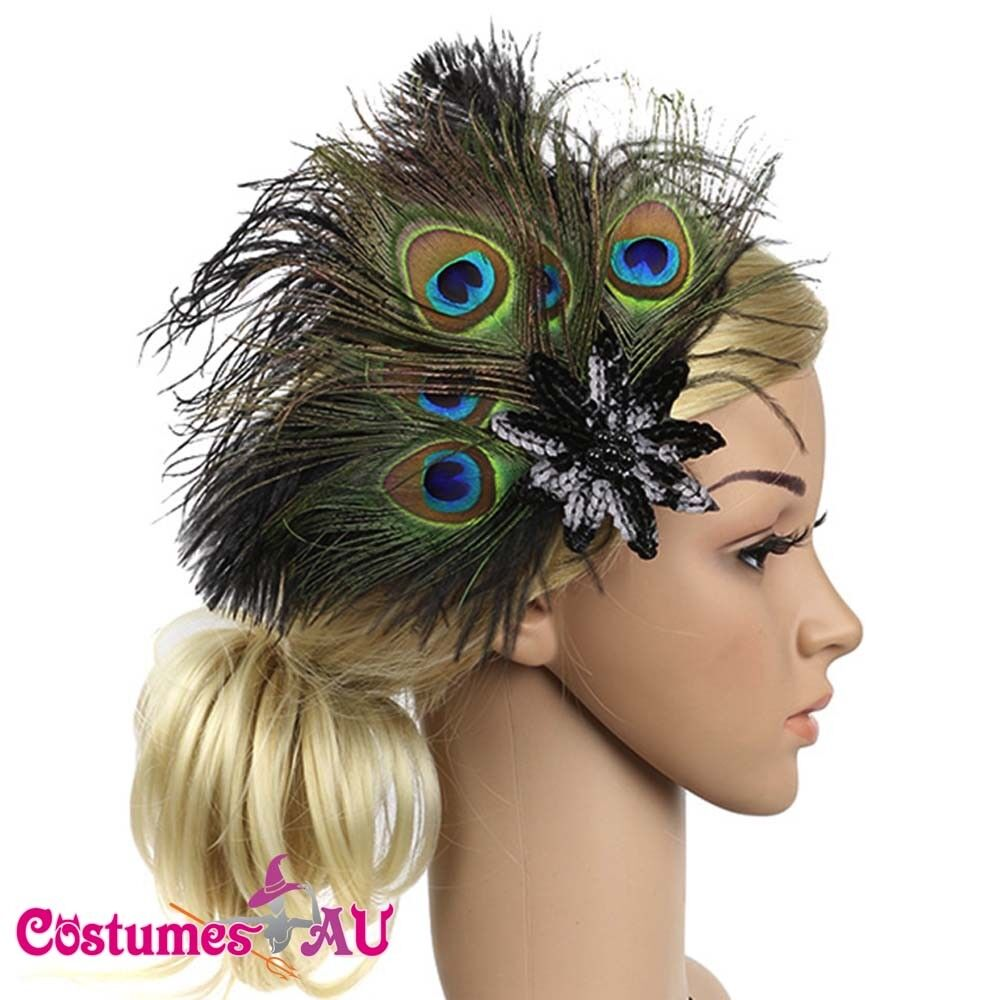 1920s Headband Peacock Feathers Bridal Gatsby 20s Gangster Flapper Headpiece