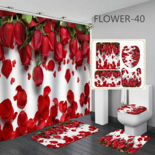 Rose Bathroom Rug Set Shower Curtain Bath Mat Skidproof Toilet Seat Lid Cover