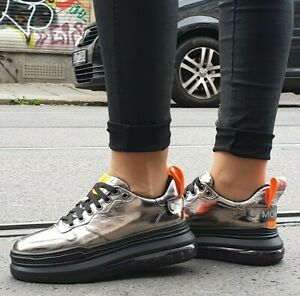 Movie-s-Sneaker-8888-18-silver-orange-Echtleder-Innen-und-Aussen-Laces