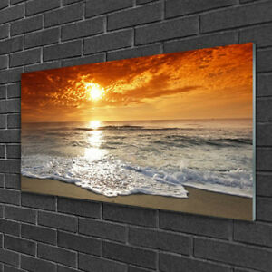 Glasbilder Wandbild Druck auf Glas 125x50 Sonne Strand Meer Baum Landschaft