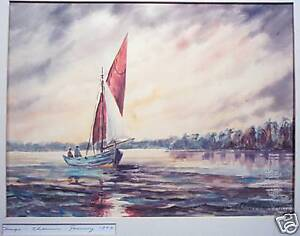 Otto-D-Franz-Original-Watercolor-of-Sailboat-1963
