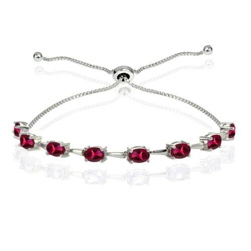 Sterling Silver créé Rubis Ovale Réglable Bolo Bracelet