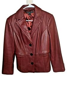 PRESTON-amp-YORK-Womens-Burgundy-Red-Genuine-Lamb-Skin-Leather-Jacket-Size-Small