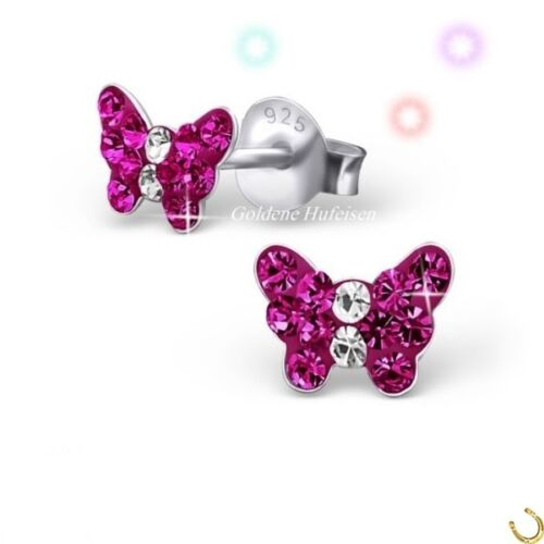 Mädchen Kristall Schmetterling Pink Ohrstecker 925 Silber Ohrringe Kinder gh-1a