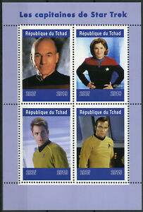Chad-2019-MNH-Star-Trek-Captains-Kirk-Picard-Janeway-4v-M-S-TV-Movies-Stamps