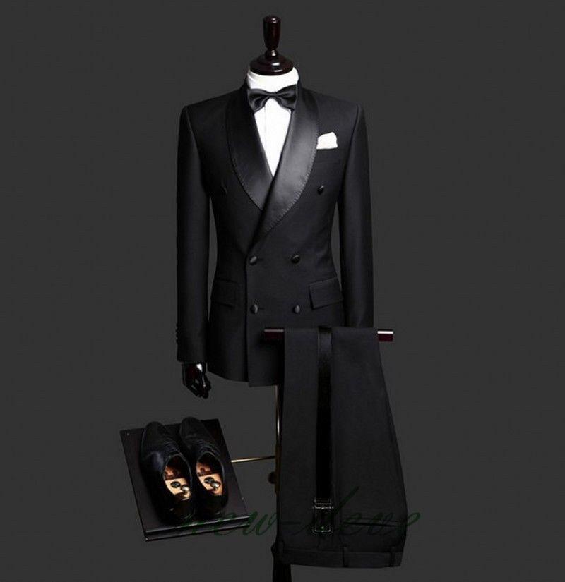 Black Men's Suits Fit Slim Lapel 3Pcs Tuxedos Groom Formal Party Suit Custom