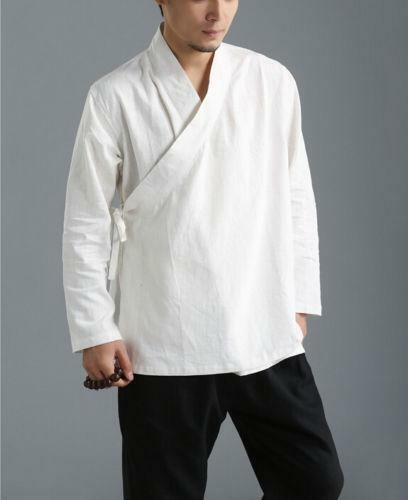 Mens Blouse Chinese Traditional loose Tops Linen Gown Shirt  Casual Hanfu kimono