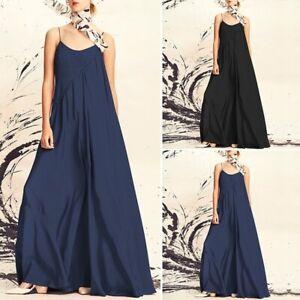 Sz-S-5XL-Women-Spaghetti-Strap-Casual-Holiday-Beach-Maxi-Dress-Loose-Sundress-Sz