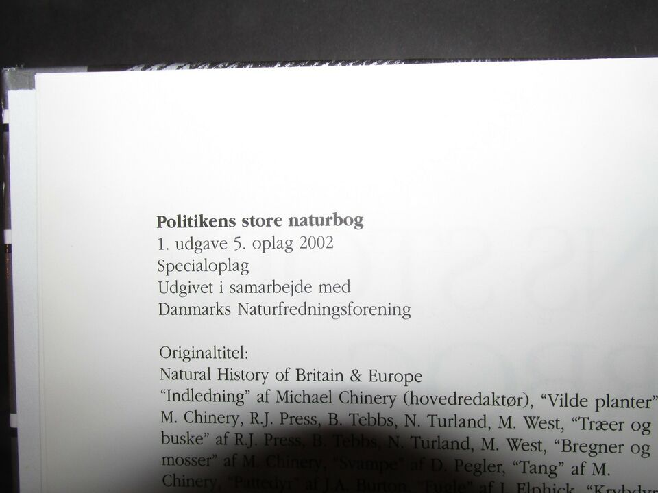 Politikens store naturbog, Kristian Hansen, emne: natur