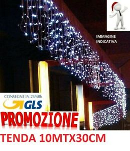 Tenda Luminosa Natalizia NATALE LUCI 10m x 30cm 300 led PROLUNGABILE VARI GIOCHI
