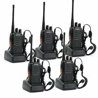 5 Pack Long Range Walkie Talkie Two Way Radio 6km Distance Portable W/ Earpieces
