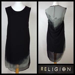 Religion wir leben in schwarz Flint Cowl Rücken Dip Hem Shift Kleid Größe XS UK 8