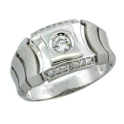 Sterling Silver Men/'s Square Checkerboard Style Ring w// Cubic Zirconia Stones