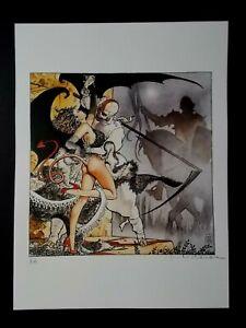 """Milo Manara  ( Art Print ) """" Per Riondino """"  Epreuve d'Artiste + Belle Signature"""